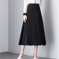 skirt Spring 2021 S,M,L,XL,2XL black Mid length dress commute High waist A-line skirt Solid color Type A 18-24 years old 51% (inclusive) - 70% (inclusive) brocade Other / other zipper Korean version