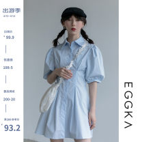 Dress Spring 2021 White, blue, size chart S, M Short skirt singleton  Short sleeve commute Polo collar High waist Solid color Single breasted A-line skirt puff sleeve 18-24 years old Type X EGGKA Simplicity Q21105-B 81% (inclusive) - 90% (inclusive) cotton