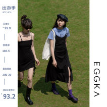 Dress Spring 2021 Average size, M Short skirt singleton  Sleeveless commute High waist Solid color Socket other camisole 18-24 years old Type X EGGKA Korean version 51% (inclusive) - 70% (inclusive) cotton