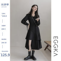 Dress Autumn 2020 black S, M Mid length dress singleton  Long sleeves commute square neck Solid color Socket Cake skirt routine Others 18-24 years old EGGKA Korean version Fold, tie, asymmetry, tie Q20257-B 71% (inclusive) - 80% (inclusive) cotton