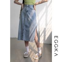 skirt Spring 2021 S,M,L,XL Blue, size chart Mid length dress commute High waist Denim skirt Solid color Type A 18-24 years old B21135-H 71% (inclusive) - 80% (inclusive) Denim EGGKA cotton Simplicity