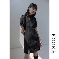 Dress Spring 2021 White, black, size chart S,M,L Short skirt singleton  Short sleeve commute stand collar Solid color Socket A-line skirt puff sleeve 18-24 years old Type X EGGKA Retro Embroidery Q21132-H More than 95%