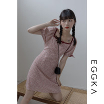 Dress Spring 2021 Pink, light apricot, size chart S,M,L Short skirt singleton  Short sleeve Sweet square neck High waist other other A-line skirt puff sleeve Others 18-24 years old Type A EGGKA Open back, Auricularia auricula, lace, bandage Q21129-F 71% (inclusive) - 80% (inclusive) polyester fiber