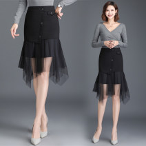skirt Spring 2021 M [2-foot-1], l [2-foot-1], XL [2-foot-2], 2XL [2-foot-3], 3XL [2-foot-4], 4XL [2-foot-5] black Middle-skirt Versatile High waist Irregular Solid color Type H 30-34 years old Qz57-9913 fishtail skirt with mesh stitching other New European clothes polyester fiber