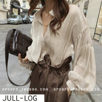 shirt Average size Spring 2020 polyester fiber 96% and above Long sleeves commute Regular other Single row multi button other Solid color 25-29 years old Straight cylinder Korean version