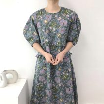 Dress Summer 2021 Apricot, blue Average size longuette singleton  Short sleeve commute Crew neck Loose waist puff sleeve 18-24 years old Type H Korean version Splicing 51% (inclusive) - 70% (inclusive)