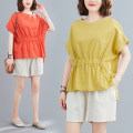 Women's large Summer 2021 Orange, yellow Big XL, big XXL, big L, big M T-shirt Two piece set commute easy Socket Short sleeve Solid color Retro Crew neck routine hemp other 51% (inclusive) - 70% (inclusive) shorts