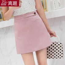 skirt Spring of 2019 S M L XL XXL Pink black white Short skirt commute High waist A-line skirt Solid color Type A 25-29 years old D4026 91% (inclusive) - 95% (inclusive) Chiffon Digression polyester fiber Three dimensional decorative button zipper Korean version Pure e-commerce (online only)