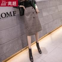 skirt Autumn 2020 S M L XL XXL Kaqige Mid length dress commute High waist skirt lattice Type H 25-29 years old 71% (inclusive) - 80% (inclusive) Wool Digression polyester fiber Asymmetric button zipper Korean version Polyester 80% viscose 20% Pure e-commerce (online only)
