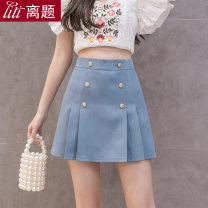 skirt Summer 2020 S M L XL XXL Apricot blue black Short skirt commute High waist Pleated skirt Solid color Type A 25-29 years old 91% (inclusive) - 95% (inclusive) Chiffon Digression polyester fiber Pleated button Korean version Polyester fiber 94% polyurethane elastic fiber (spandex) 6%