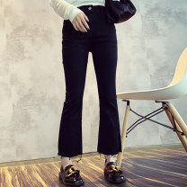 Jeans Spring 2021 black S,M,L Ninth pants High waist Flared trousers Thin money 25-29 years old Bead, worn, button other Dark color CNXZ0319B06 81% (inclusive) - 90% (inclusive)