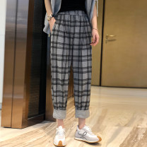 Casual pants Grey grid S,M,L Spring 2021 Ninth pants Straight pants High waist street Thin money 25-29 years old 91% (inclusive) - 95% (inclusive) WYXZ0320B04 other pocket Europe and America