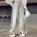Casual pants grey S,M,L Spring 2021 Ninth pants Wide leg pants High waist street Thin money 25-29 years old 91% (inclusive) - 95% (inclusive) CNSY0326B10 other pocket Europe and America