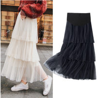 skirt Gauze skirt for pregnant women Medium length Korean version M,L,XL,XXL Four seasons Other / other Black, apricot, lotus root powder Solid color polyester