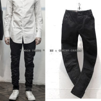 Casual pants Others Fashion City black S,M,L,XL routine trousers Other leisure Self cultivation No bullet Four seasons teenagers Simplicity in Europe and America 2018 Medium low back Straight cylinder Cotton 100% O-style pants Button decoration Make old Solid color plain cloth cotton cotton