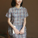 Dress Summer 2020 The grid is shown in the picture S. M (model code), l, XL Mid length dress singleton  Short sleeve commute stand collar Loose waist lattice Socket A-line skirt Type A Three to five years literature Q544 30% and below hemp