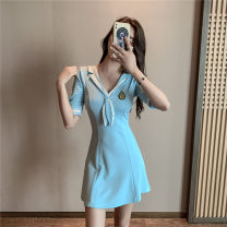 Dress Spring 2021 Black, light blue S,M,L Short skirt V-neck High waist Solid color Socket Big swing Hanging neck style 18-24 years old Type A Other / other 30% and below brocade cotton
