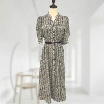 Dress Summer 2021 black M,L,XL,2XL Mid length dress singleton  Short sleeve commute Polo collar Decor Socket routine Button Urban Korea Europe 18135 30% and below other