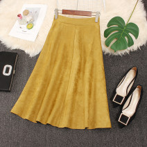 skirt Winter 2020 Average size Yellow, brown, blue, black, khaki, orange, light pink, smoke gray Mid length dress commute High waist A-line skirt Solid color Type A Line decoration, stitching Korean version