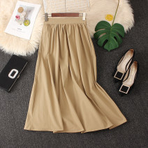 skirt Autumn 2020 Average size Khaki, black, white (with a little gray) longuette commute High waist Umbrella skirt Solid color Type A brocade Pleats, zippers Korean version