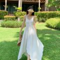Dress Spring 2020 white S,M,L,XL longuette singleton  Sweet V-neck High waist Solid color Socket Irregular skirt camisole 18-24 years old Type A backless Bohemia