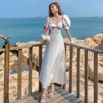 Dress Summer 2021 white S,M,L,XL longuette singleton  commute V-neck 18-24 years old Korean version