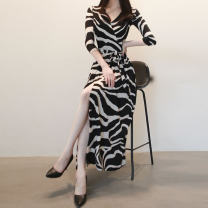 Dress Spring 2020 3081 zebra black, 307630633065307130803069311130418705 (with collar), 8704 (with collar), 8703 (with collar), 3083 (with collar), 3085308630273002 black apricot, 3002 dark blue, 30113001 blue, 8022303430083046 S,M,L,XL,2XL longuette singleton  commute V-neck middle-waisted