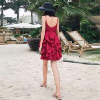 Dress Summer 2021 gules S,M,L Short skirt singleton  Sleeveless Sweet V-neck High waist Solid color zipper A-line skirt camisole 18-24 years old Stitching, ruffles Bohemia