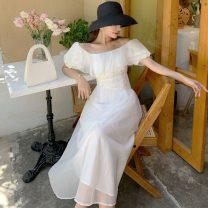 Dress Summer 2021 white S,M,L,XL longuette singleton  commute One word collar Korean version