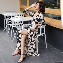 Dress Summer 2021 3002 black apricot flower S,M,L,XL,2XL longuette singleton  three quarter sleeve commute V-neck Loose waist Decor A-line skirt Breast wrapping Type A Retro Bows, ties, bandages, prints