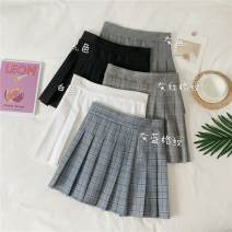 skirt Spring 2020 S,M,L White, gray, black, gray blue grid, gray red grid Short skirt fresh High waist Pleated skirt lattice Type A 18-24 years old 30% and below other