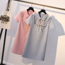 Women's large Summer 2021 Pink, sky blue Dress singleton  Sweet Self cultivation moderate Socket Short sleeve Solid color, bow Polo collar Polyester, polyester Three dimensional cutting other Rosa rugosa 18-24 years old Bandage Medium length other Lotus leaf edge college
