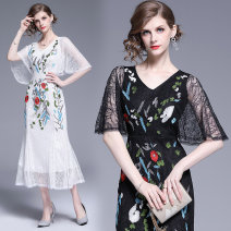 Dress Summer of 2019 White, black M,L,XL,2XL longuette singleton  commute V-neck middle-waisted scenery other One pace skirt other Others Type H lady Embroidery, lace 862# Lace Cellulose acetate
