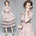 Dress Autumn of 2019 Pink S,M,L,XL,2XL longuette singleton  Short sleeve commute Crew neck middle-waisted Decor other Pleated skirt routine Others 25-29 years old Type A lady 81% (inclusive) - 90% (inclusive) Lace nylon