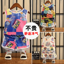 suit Other / other White, black, blue neutral summer Sleeveless + pants 2 pieces routine nothing cotton Class B 12 months, 18 months, 2 years old, 3 years old, 4 years old, 5 years old, 6 years old, 7 years old, 8 years old, 9 years old, 10 years old, 11 years old, 12 years old Chinese Mainland