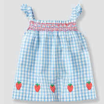 Dress wathet female Cotton 100% summer leisure time Skirt / vest Solid color Pure cotton (100% cotton content) A-line skirt Class A 12 months, 18 months, 2 years old, 3 years old, 4 years old, 5 years old, 6 years old, 7 years old, 8 years old