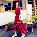Dress Summer 2020 Red, Navy S,M,L,XL Mid length dress singleton  Short sleeve commute Doll Collar High waist Solid color Single breasted Irregular skirt routine Others 18-24 years old Type A Korean version Lace up, three-dimensional decoration, asymmetry, strap, button More than 95% Chiffon