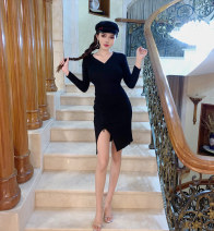 Dress Winter of 2018 Apricot, black, brick red Average size Miniskirt singleton  Long sleeves street V-neck High waist Socket Irregular skirt routine 18-24 years old Other / other Hollowing out Europe and America