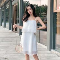 Dress Summer of 2019 White, black S, M Middle-skirt singleton  Sleeveless Crew neck middle-waisted Socket Cake skirt other camisole Other / other