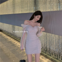 Dress Autumn 2020 silver gray S,M,L Long sleeves High waist 18-24 years old