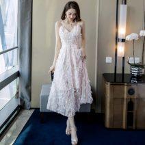 Dress Summer 2020 Pink S,M,L,XL longuette singleton  Sleeveless commute V-neck High waist Decor Socket Big swing camisole 18-24 years old Type A Korean version backless