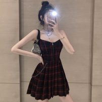 Dress Summer 2020 claret S,M,L Miniskirt High waist 18-24 years old