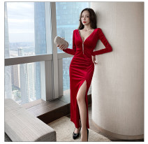 Dress Winter 2020 Red, black S,M,L,XL Miniskirt singleton  Long sleeves commute V-neck middle-waisted Solid color Socket other routine Others 18-24 years old T-type lady 81% (inclusive) - 90% (inclusive) Flannel nylon
