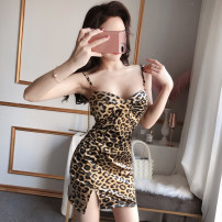 Dress Summer 2020 Black, leopard print S,M,L Short skirt singleton  Sleeveless commute One word collar Leopard Print zipper Pencil skirt camisole 18-24 years old Type A Korean version