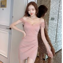 Dress Autumn 2020 White, pink, black S,M,L Short skirt singleton  Short sleeve commute V-neck middle-waisted Solid color Socket routine 18-24 years old Korean version Splicing 31% (inclusive) - 50% (inclusive)