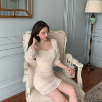 Dress Summer of 2019 Light yellow, light purple S,M,L Miniskirt singleton  three quarter sleeve commute square neck High waist Solid color Socket Pleated skirt Pile sleeve 18-24 years old Other / other Korean version 81% (inclusive) - 90% (inclusive) other polyester fiber