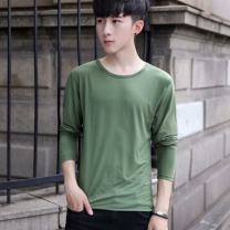 T-shirt Business gentleman thin S,M,L,XL,2XL,3XL,4XL,5XL Others Long sleeves Crew neck Self cultivation Other leisure Four seasons Polyester 95% polyurethane elastic fiber (spandex) 5% youth routine Business Casual other 2019 Solid color polyester fiber other No iron treatment