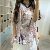 shirt khaki Average size Summer of 2019 hemp 96% and above Short sleeve Original design Regular stand collar Socket routine Broken flowers hemp