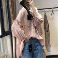 shirt Pink, green Average size Spring 2020 hemp 96% and above Long sleeves Original design Regular stand collar Single row multi button Bat sleeve Solid color BR13977 hemp