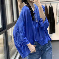 shirt blue Average size Summer 2020 cotton 96% and above Short sleeve Original design Regular Crew neck Socket raglan sleeve Solid color ZW27288119 pure cotton